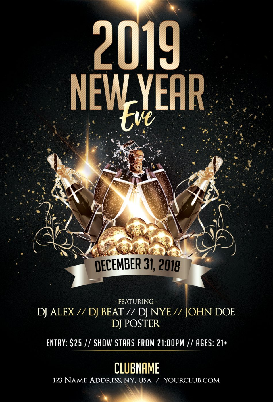 2019 New Year Eve Luxury Free PSD Flyer Template