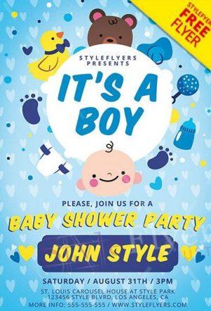 Baby Boy Shower FREE PSD Flyer Template