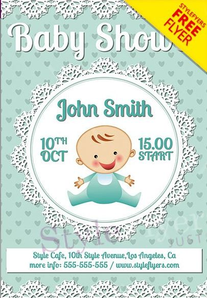 Baby Shower FREE PSD Flyer Template - PSDFlyer