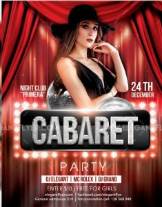 Cabaret Party FREE PSD Flyer Template