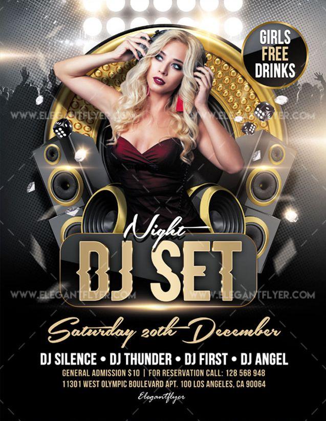 DJ Set Night Free Flyer PSD Template