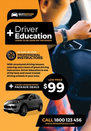 Driving School Free PSD Flyer Template