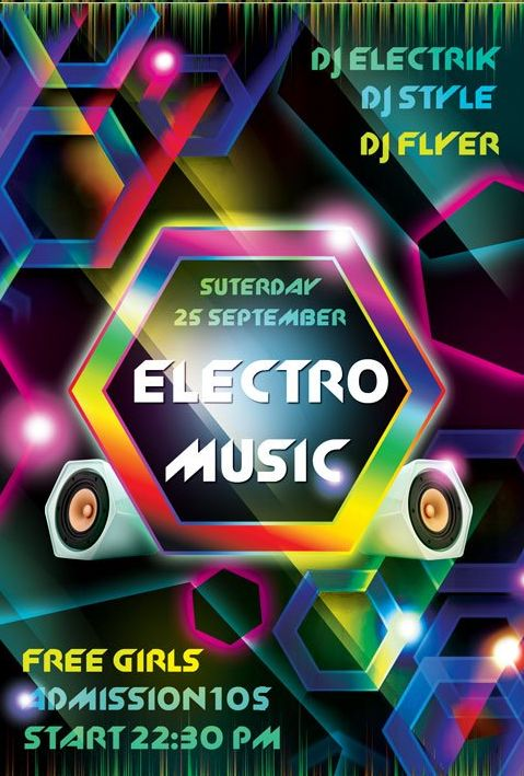 Electro Music FREE PSD Flyer Template