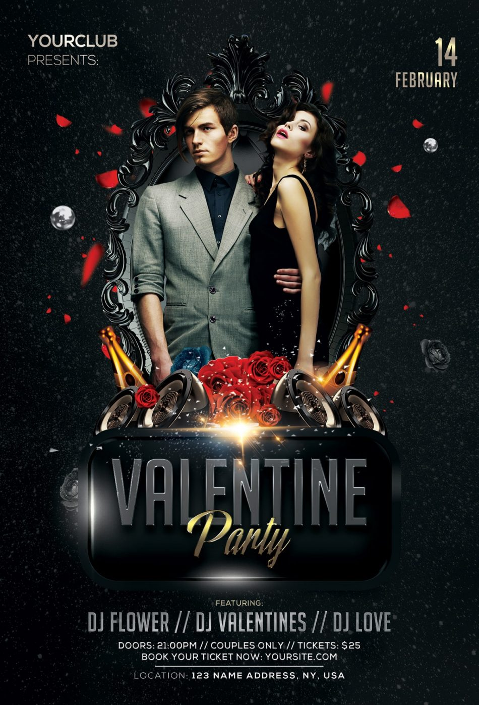 Free Valentine's Party 2019 PSD Flyer Template