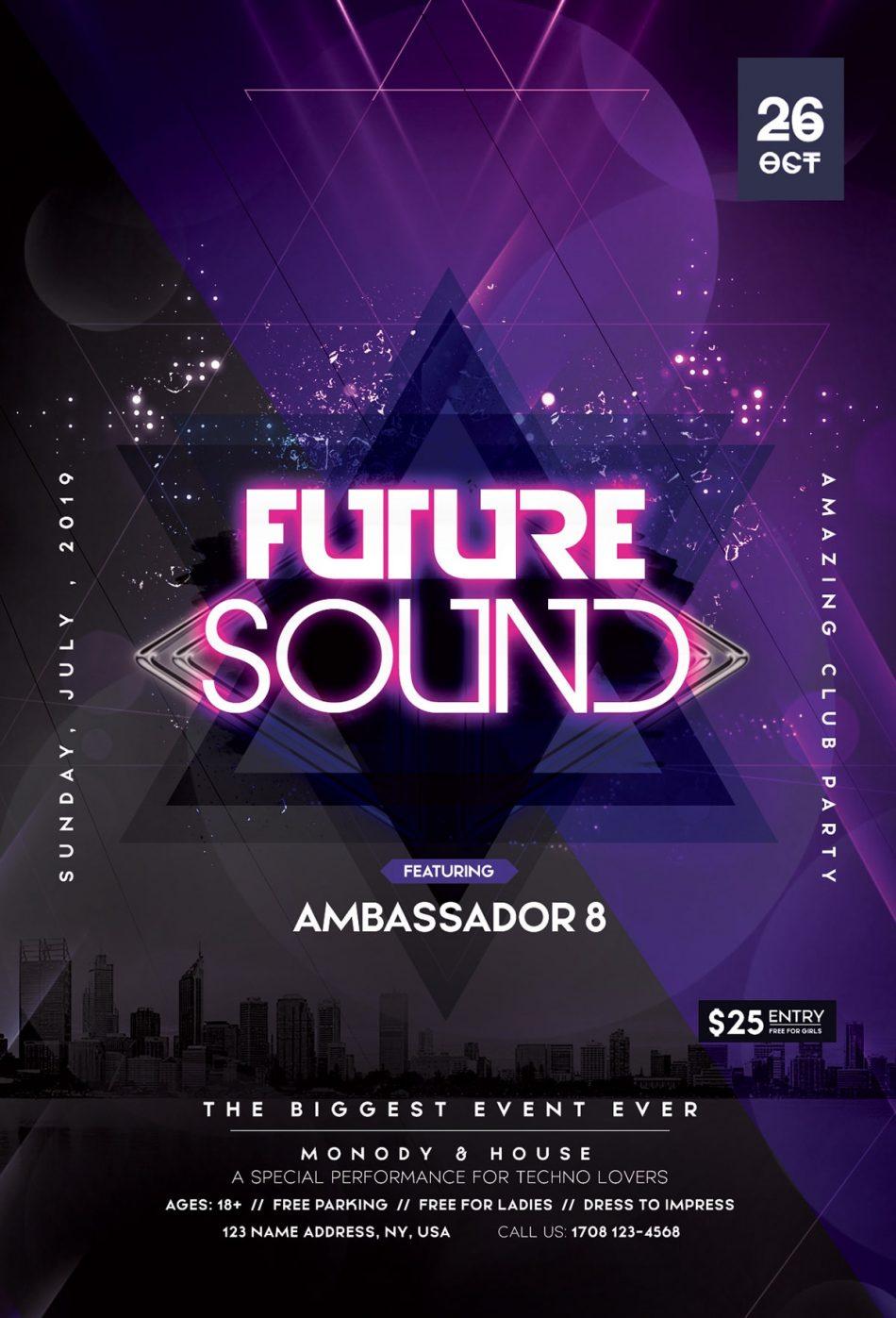 Future Sound – Free Futuristic PSD Flyer Template