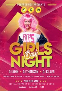 Girls Party Free PSD Flyer Template