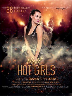 Hot Girls Night Free Flyer PSD Template