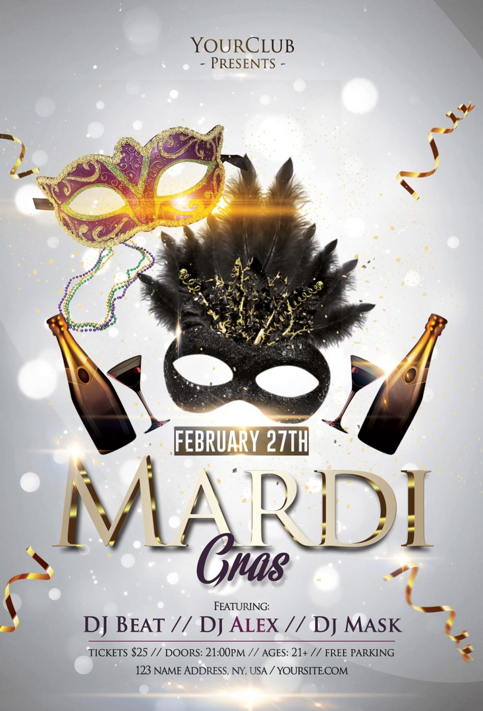 Mardi Gras Carnival 2019 Free PSD Flyer Template