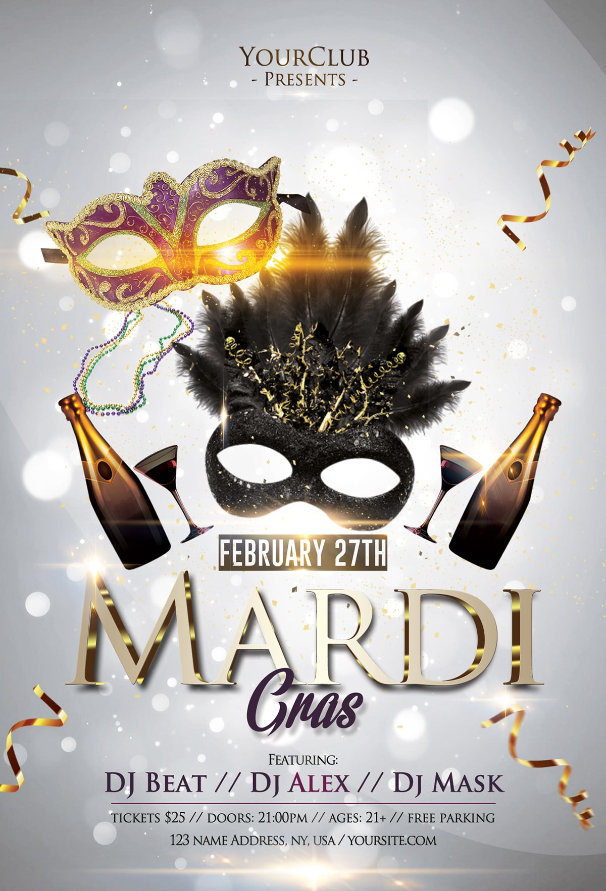 Mardi Gras Carnival 2019 Free PSD Flyer Template