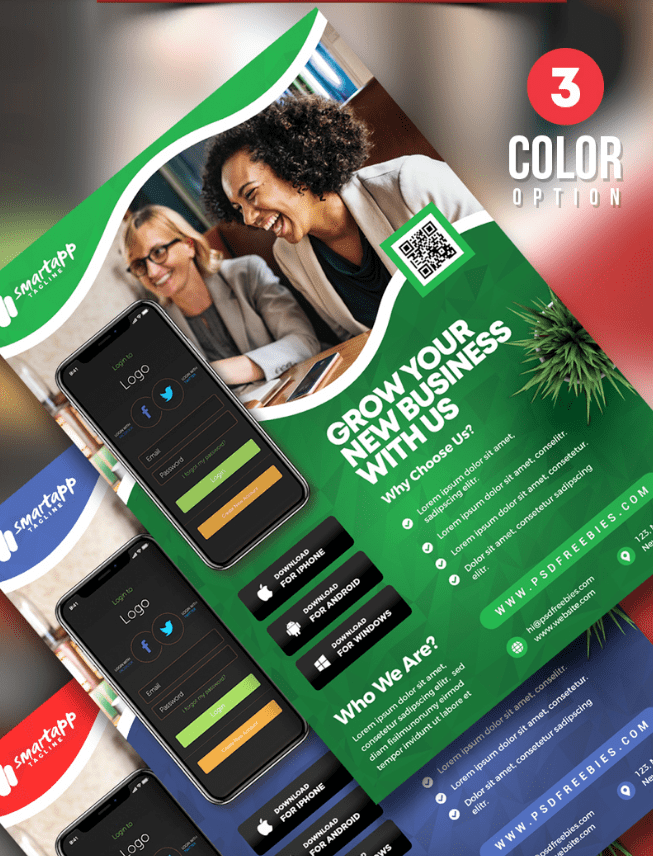 Mobile APP Free PSD Flyer Template