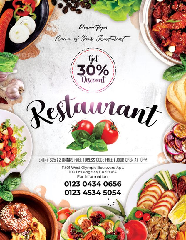 Restaurant – Free Flyer PSD Template