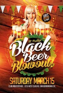 St. Patrick's Day Black Beer Blowout Free PSD Flyer Template