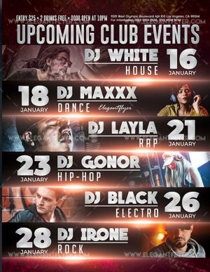 Upcoming Club Events Free Flyer PSD Template