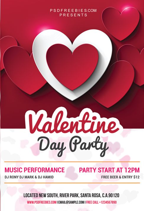 Valentine Day Party Free PSD Flyer
