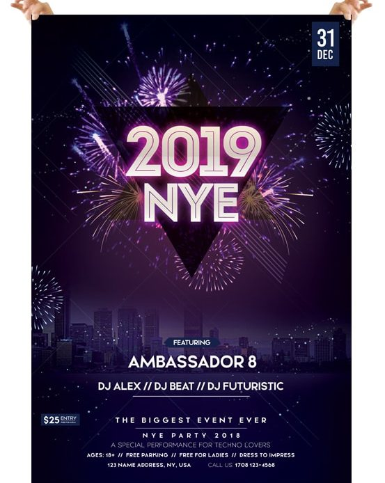 2019 New Year Eve – Free PSD Flyer Template