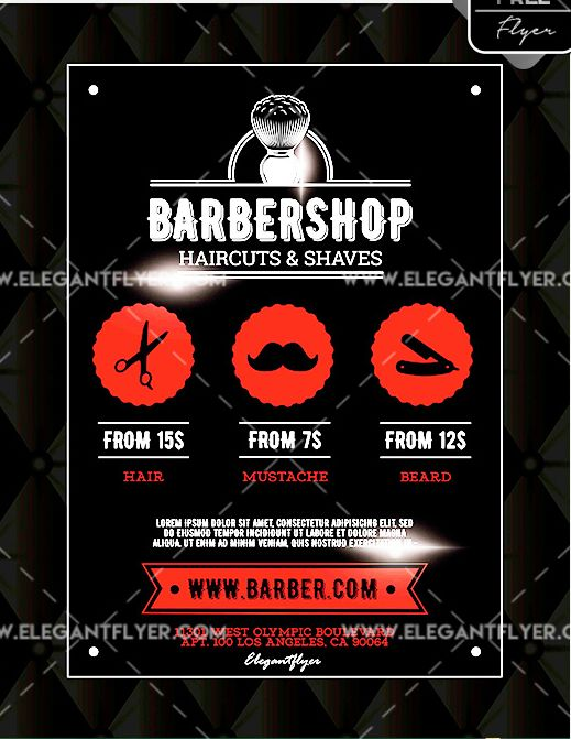 Barbershop FREE Flyer PSD Template