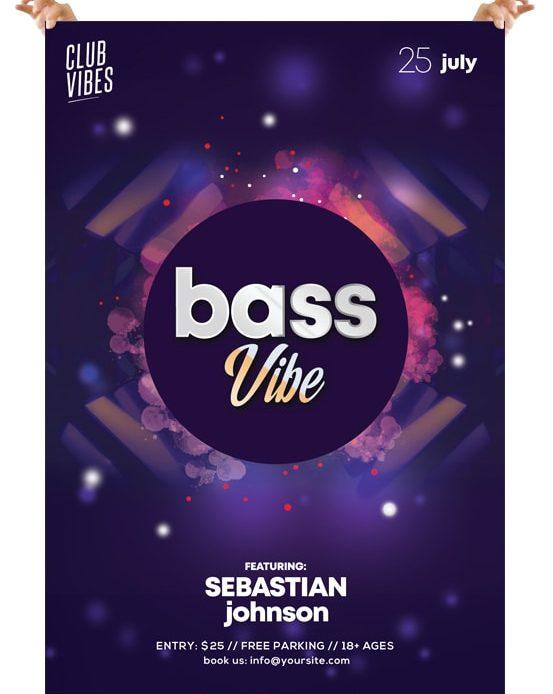 Bass Vibe DJ – Free PSD Flyer Template