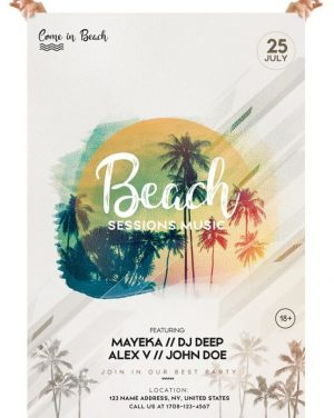 Beach Sessions – Free PSD Flyer Template