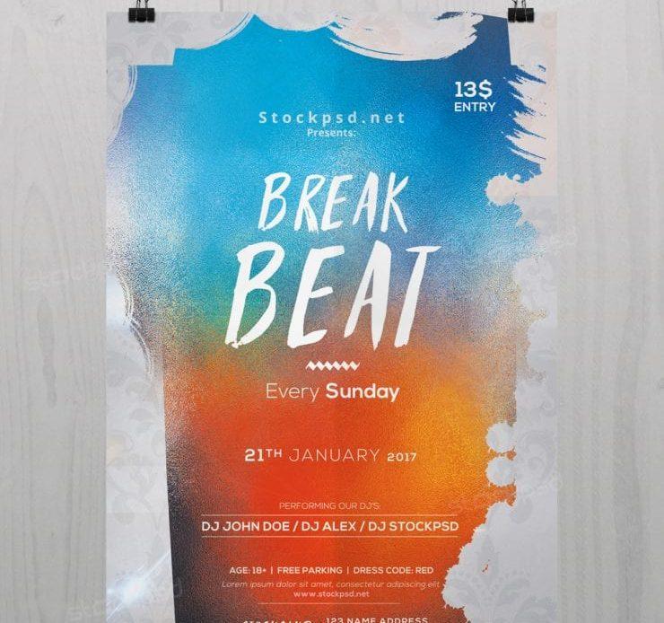 Break Beat – Free PSD Flyer Template