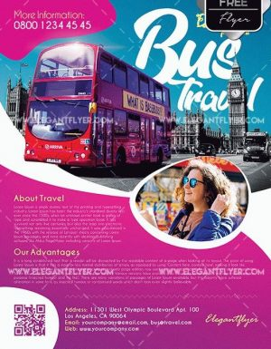 Bus Travel Free PSD Flyer Template