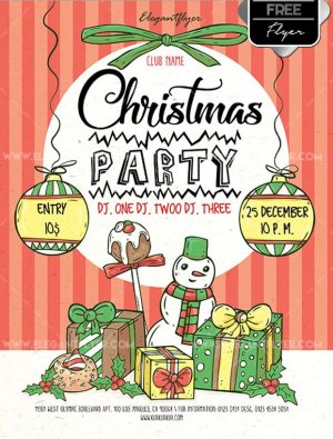 Christmas Snowman Party Free PSD Flyer Template