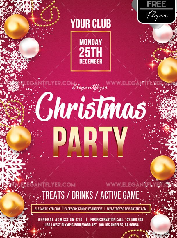 Christmas Contest Flyer.Christmas Party Free Psd Flyer Template Psdflyer Co