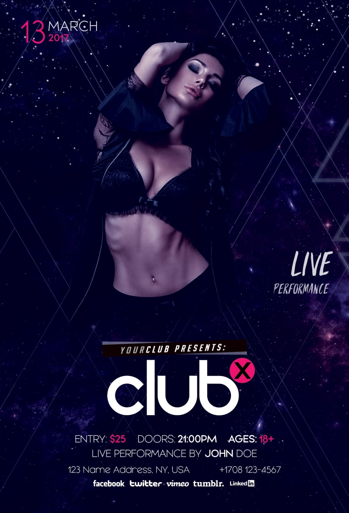 Club X – Free PSD Flyer Template