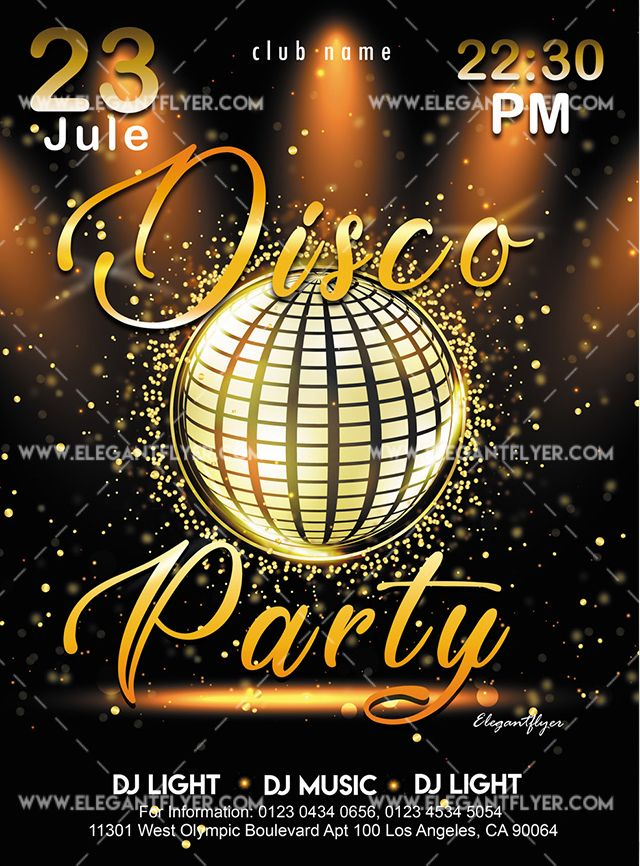 Disco Gold Party Free Flyer Psd Template Psdflyer Co