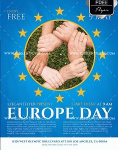 Europe Day Free PSD Flyer Template