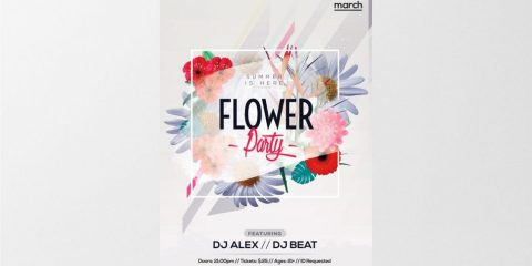 Flower Party – Free PSD Flyer Template