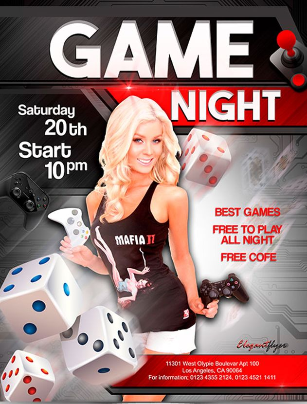 Game night – Free Flyer PSD Template