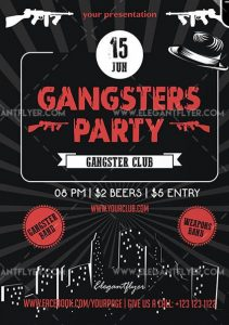 Gangsters Party – Free Flyer PSD Template