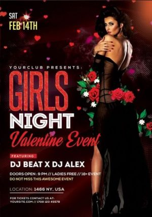 Girls Night Valentine's Event FREE PSD Flyer Template