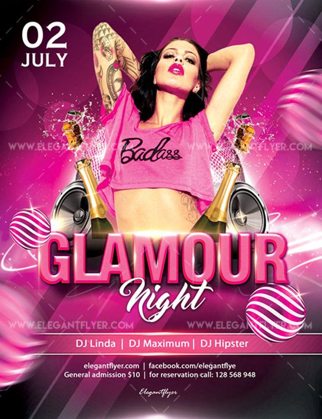 Glamour Night – Free Flyer PSD Template