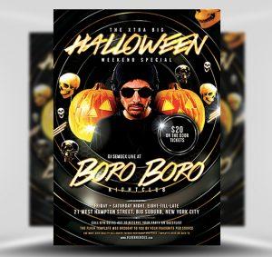 Halloween DJ Free PSD Flyer Template
