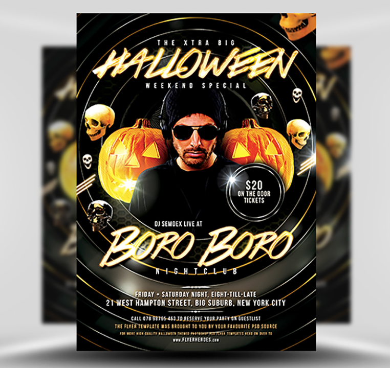 Halloween DJ Free PSD Flyer Template