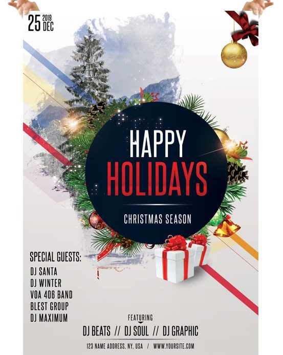 Happy Holidays Flyer Template Free Golon Wpart Co