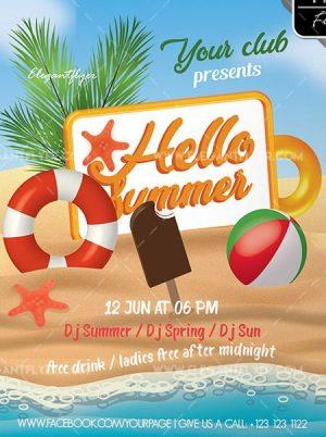 Hello Summer – Free Flyer PSD Template