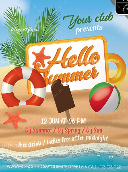 Hello Summer – Free Flyer PSD Template
