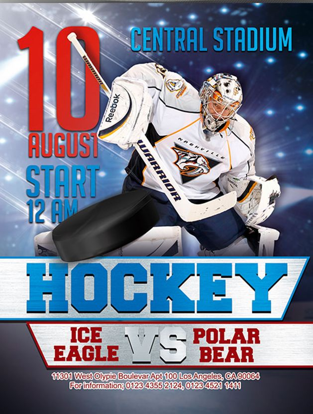 Hockey – Free Flyer PSD Template
