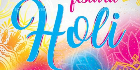 Holi Festival of Colors Free PSD Flyer Template