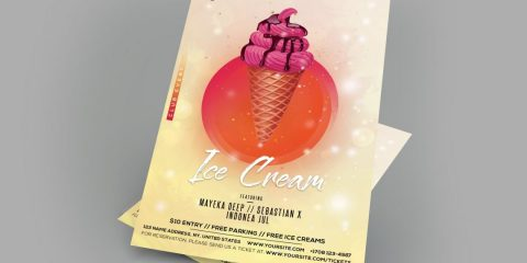 Ice Cream – Free PSD Flyer Template
