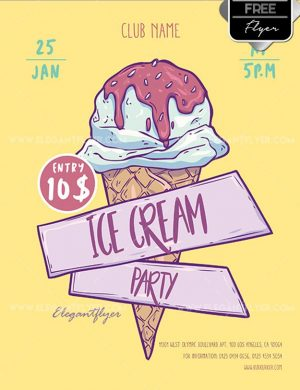 Ice Cream Party Free PSD Flyer Template