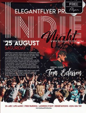Indie Night Free PSD Flyer Template
