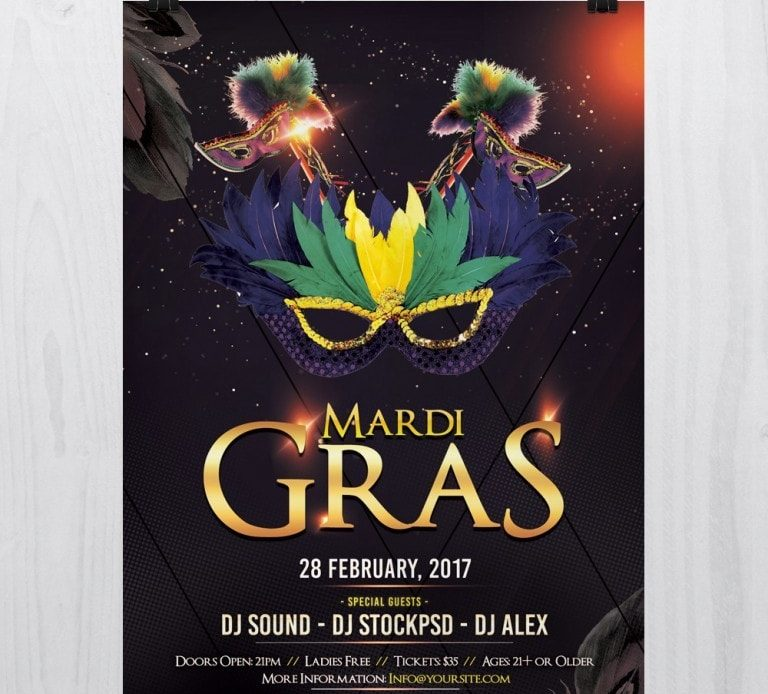 Mardi Gras – Free PSD Flyer Template
