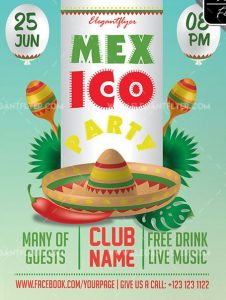 Mexico Party – Free Flyer PSD Template