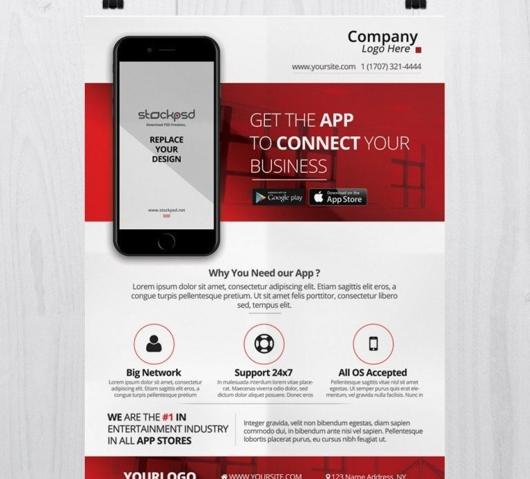Mobile App Business – Free PSD Flyer Template