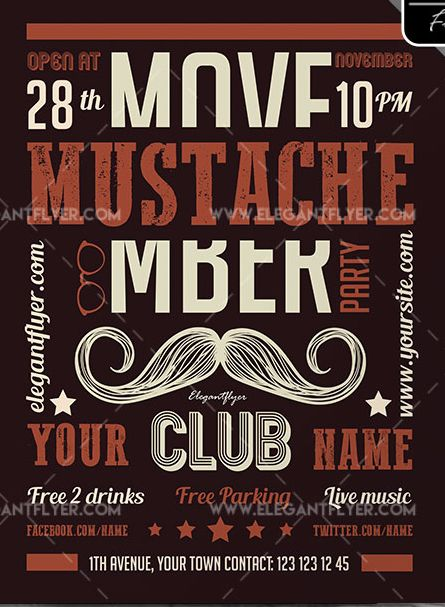 Mustache Party – Free Flyer PSD Template