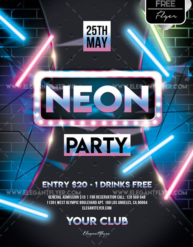 Neon Party – Free Flyer PSD Template