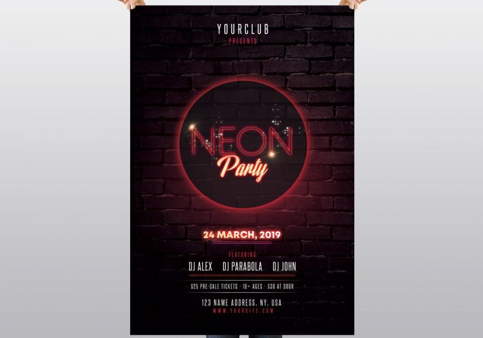 Neon Party – PSD Free Flyer Template